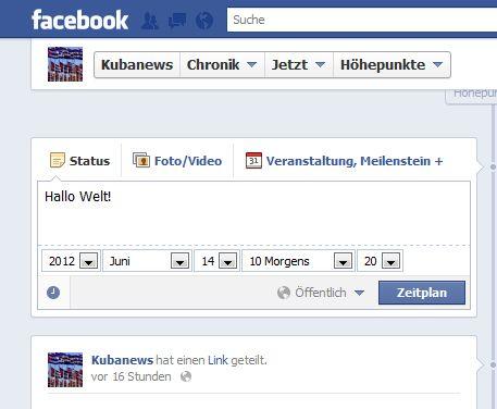 Facebook — zeitversetzt posten