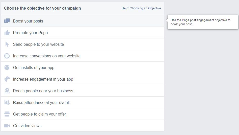 Screenshot: Facebook Ads