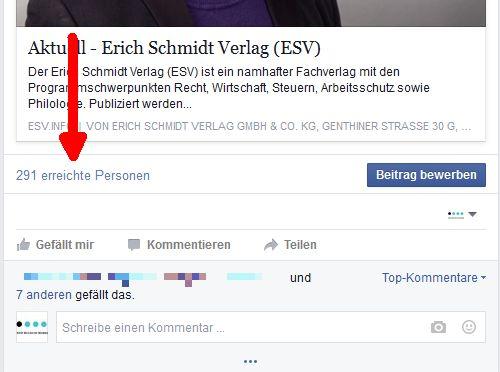 Screenshot: Die Reichweite eines Facebook-Posts